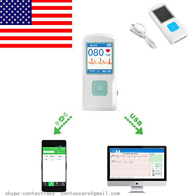 Us Seller Bluethooth Portable Ecg Ekg Machine Pm10 Color Screen Usbhr Monitor