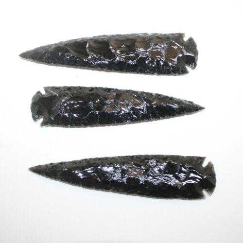 3 Obsidian Ornamental Spearheads  #311  Arrowhead