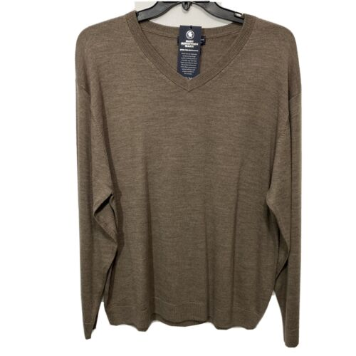 $99 Hart Schaffner Marx V-Neck Sweater 2XT 2XLT Taupe Brown Wool Pullover Clothing, Shoes & Accessories