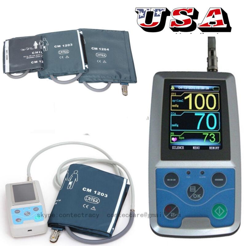Ambulatory Blood Pressure Monitor+USB Software 24h NIBP Holter ABPM50 FDA 3 cuff