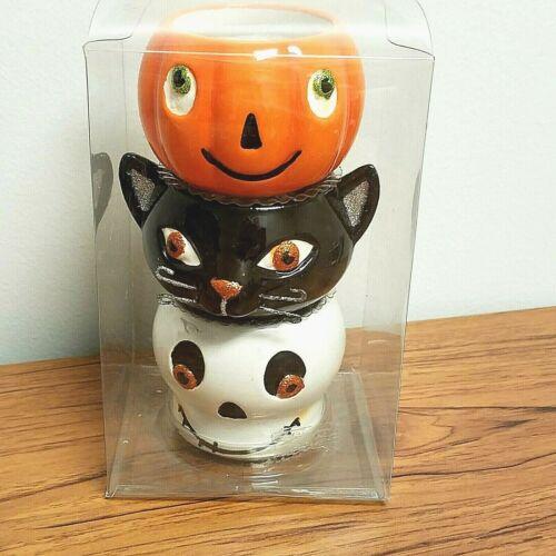 Set of 3  Hallmark Halloween Tealight Votive Candle Holders Pumpkin Skull Cat