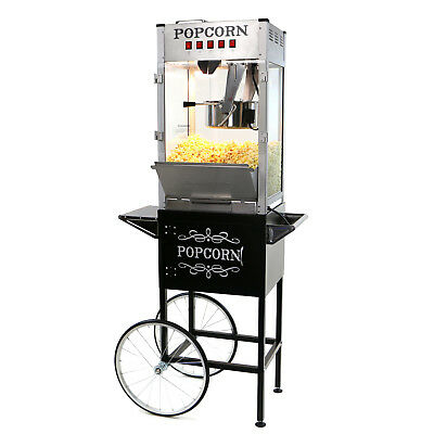 Paramount 16oz Commercial Popcorn Maker Machine Cart - 16 Oz Popper Silver