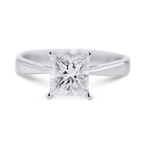 GIA CERTIFIED 1.7 Carat Princess Cut F - SI1 Solitaire Diamond Engagement Ring