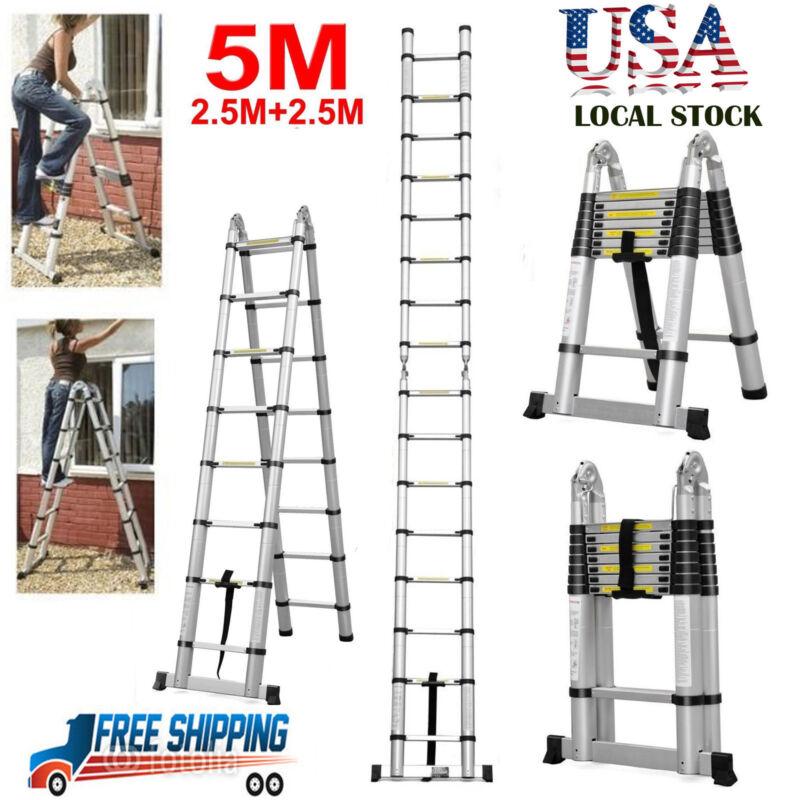 16.5FT Aluminum Multi-Purpose Telescopic Ladder Extension Foldable Duty 331Lbs