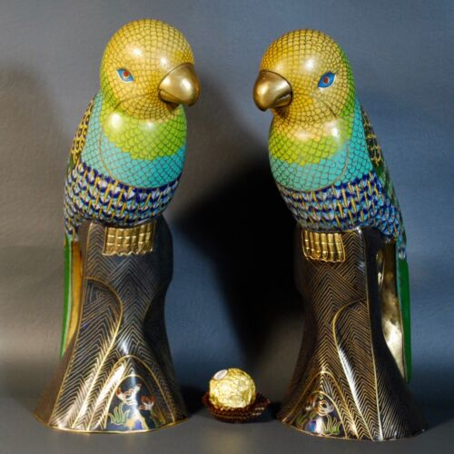 Antique Vintage Chinese Cloisonne Enamel Statue Parrot Birds, Estate Fine Rare