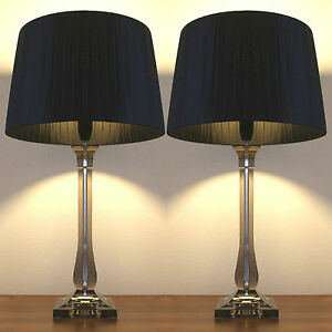 Pair of new deco modern desk designer art bedside table for Bedside table lamp shades