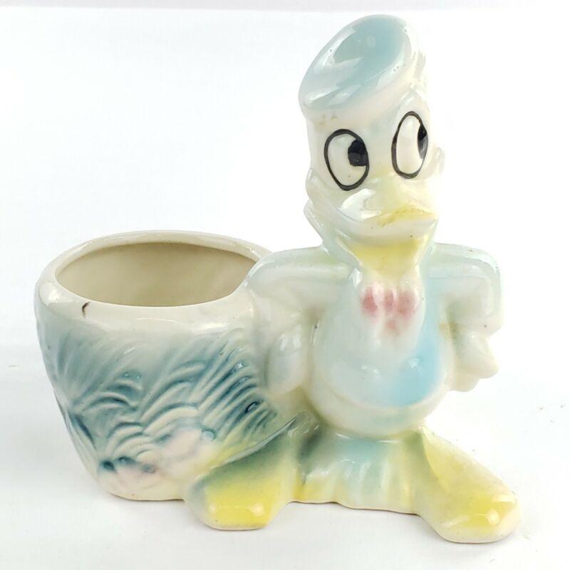 Vintage Disney Donald Duck Flower Pot Planter Vase, Rare Version