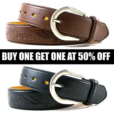 Men's Genuine Leather Metal Buckle Jean Casual Dress Belt Black Brown M L XL - Leather Jean Casual Belt