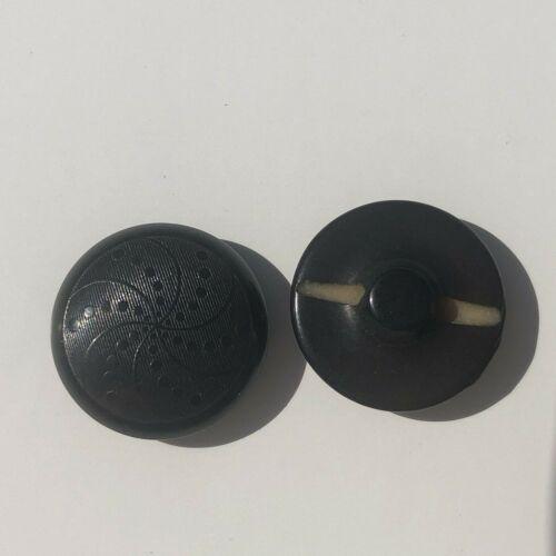 "Vintage Black Embossed Pinwheel Pattern Vegetable Ivory 3/4"" Button Lot of 2"