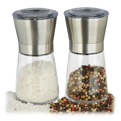 Pfeffermühle manuell 2er Set Glas Edelstahl Keramikmahlwerk Gewürzmühle Salz