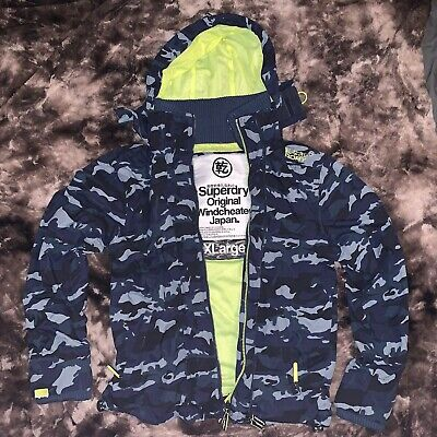 Superdry Original Windcheater Japan Sz XL Men's Black & Blue Camo Rain Coat