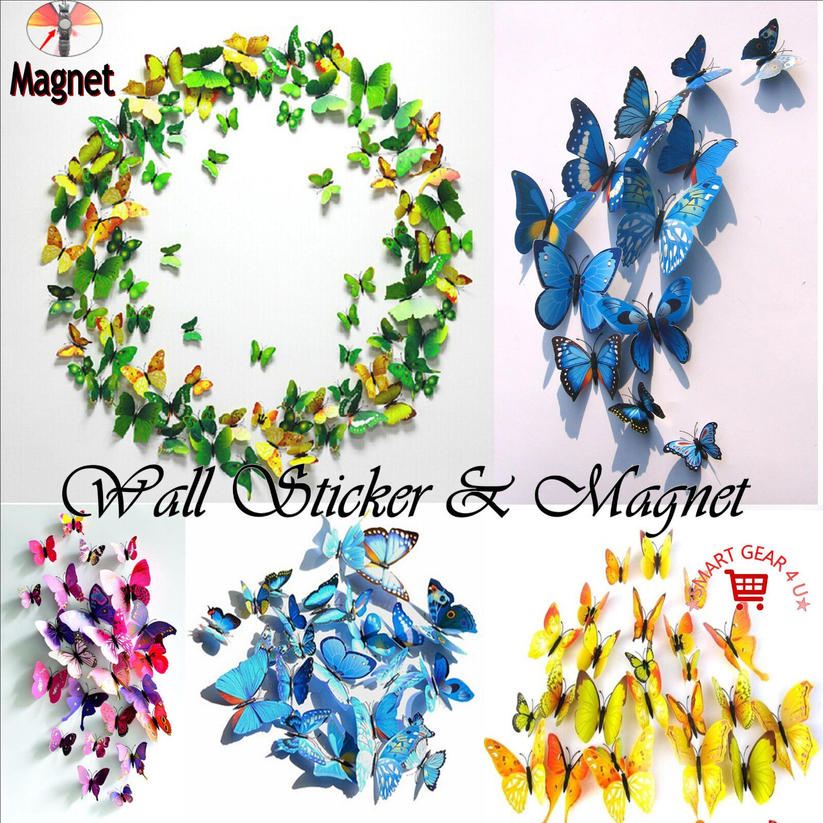 Home Decoration - 3D Butterfly Wall Stickers Magnet Art Decal Home Room Decorations Decor 12 & 24