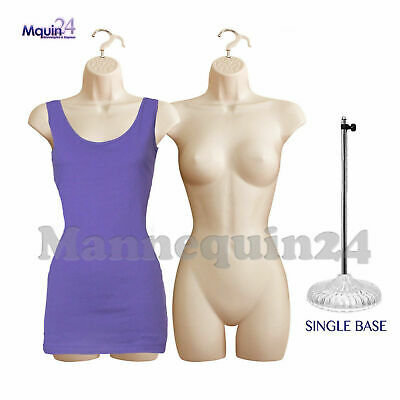 2 Pack Flesh Mannequins Female Torso Dress Form With 1 Stand 2 Hangers
