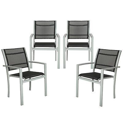 Set di 4 sedie da giardino poltrona campeggio metallo arredo giardino grigio nuo