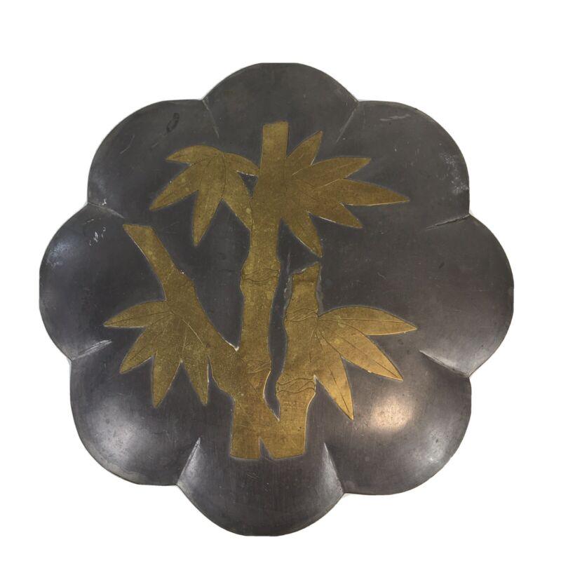 "Vintage Hong Kong Petal Box Pewter? Brass Bamboo 8"" Across Ngan"
