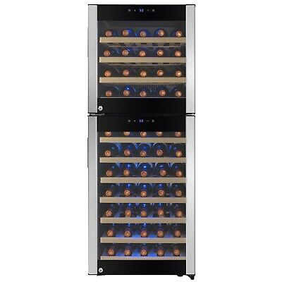 73 Bottle Dual Zone Compressor Electric Wine Cooler Refrigerator Touch Control
