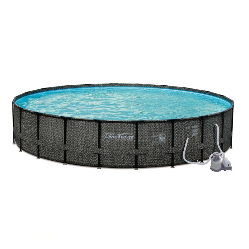 Summer Waves 24ft x 52in Above Ground Frame Swimming Pool Set with Sand Pump
