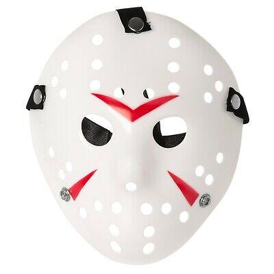 Adult Red + White Jason Voorhees Style Hacker Horror Hockey Face Masks Halloween (Jason Voorhees Face Mask)