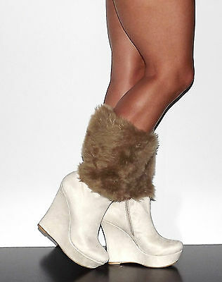 Womens Beige Faux Suede Calf High Wedge Heel Fur Boot Tesso Toi et Moi Sz 5.5-10 - Faux Suede Wedge Boot