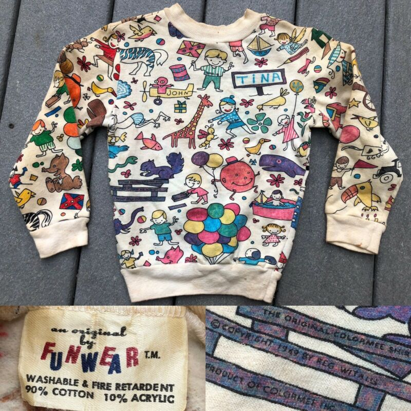 Vtg 1960s 1970s Youth Colormee All Over Graphic Sweatshirt Funwear T Shirt Old