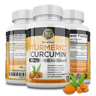 Turmeric Curcumin Extract 1650mg 95% Curcuminoids BioPerine Black Pepper 60 caps