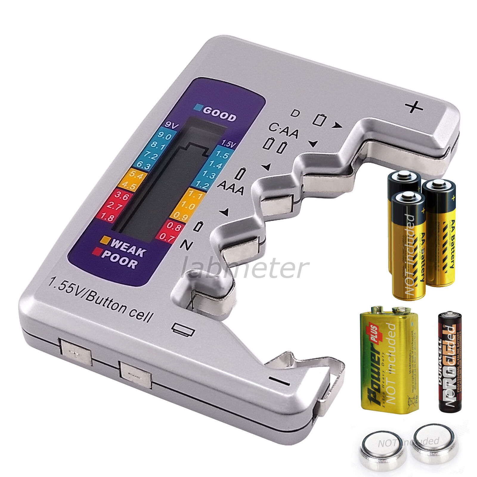 universal digital lcd battery tester checker c d n aa aaa 9v 1 5v button cell ebay. Black Bedroom Furniture Sets. Home Design Ideas