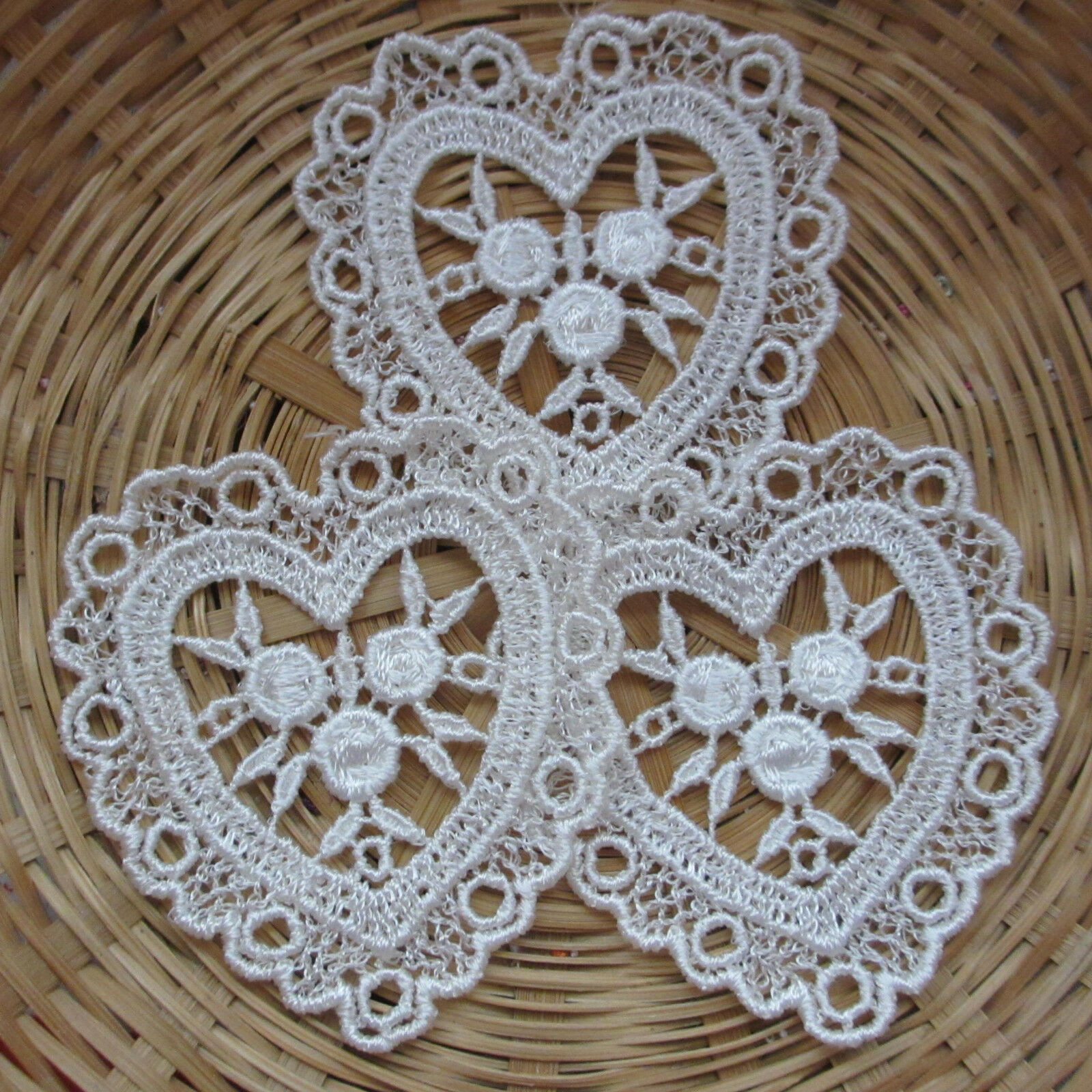 White 14cm -MP07 Guipure Lace Motif Rose Flower Applique Bridal 5 Pair