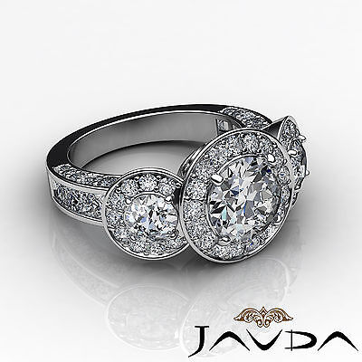 3 Stone Dazzling Round Diamond Solid Engagement Ring GIA G SI1 Platinum 2.3 ct 3