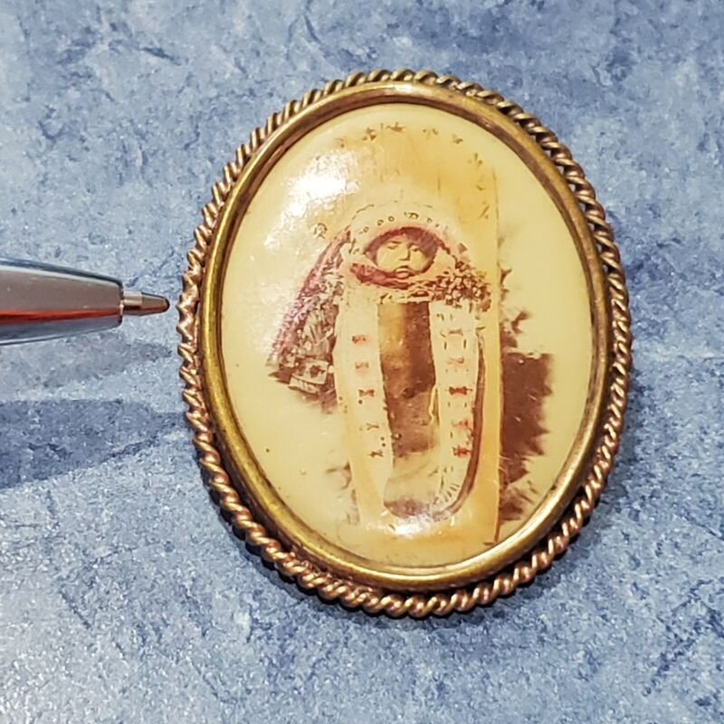 Native American Indian Baby In Papoose Photo Brooch