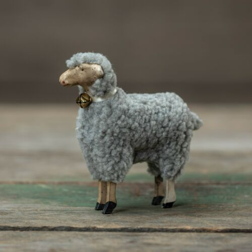 New Primitive Vintage German Style GRAY WOOL SHEEP FIGURINE Lamb Figure 4""
