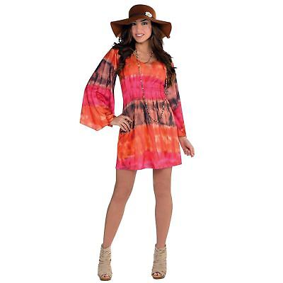 Adult Ladies Tie Dye 1960s 70s Flower Power Hippy Festival Fancy Dress Costume - Tie Dye 1960s