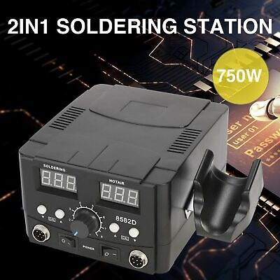 2in1 8582 Smd Soldering Iron Hot Air Rework Station Led Display W4 Nozzle 110v