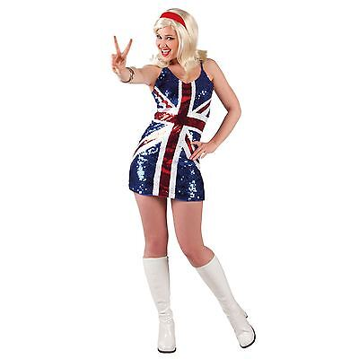 Spice Girl Kostüm (Adult Spice Girls Fancy Dress Costume Union Jack Flag Glitter Royal Wedding GB)
