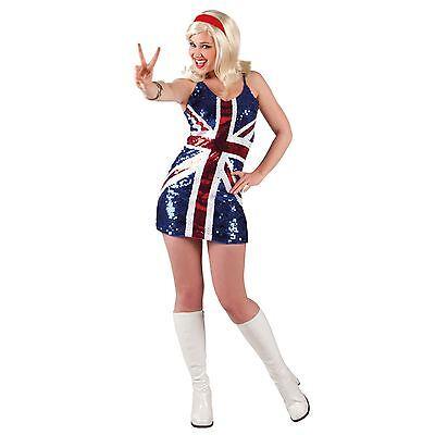 Spice Girl Kostüm (Erwachsene Spice Girls Maskenkostüm Union Jack Fahne Glitzer Königliche Hochzeit)