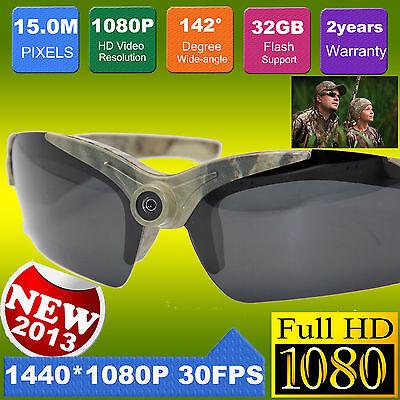 HD 1080P 15MP Video Glasses Eyewear Sports Action DV Sun Glasses Camera