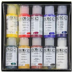 Golden Set of 10 Professional Fluid Acrylics 30ml