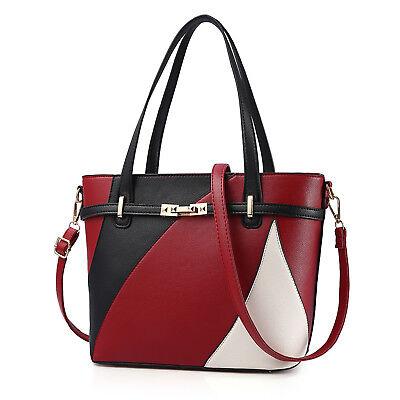 Rote Taschen (Schwarz-Rot-Weiß Damentasche Leder Schultertasche Handtasche Tragetasche Frauen)