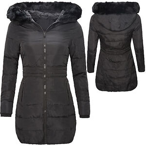 mujer-abrigo-parka-chaqueta-de-invierno-Plumon-Negro-Largo-Calido-d-108-NUEVO