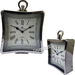 Collectible Nautical Chrome Finish Clock Table Desk Maritime Decoration Gift