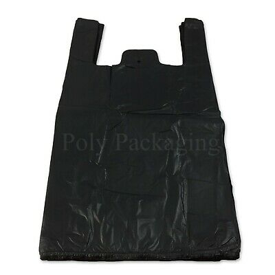 3000 x Black Vest Carrier Bags 11x17x21