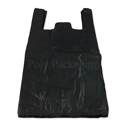 1000 x Black Vest Carrier Bags 11x17x21
