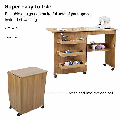 Foldable Wooden Sewing Table Craft Desk with Storage Cabinet + Lockable Casters