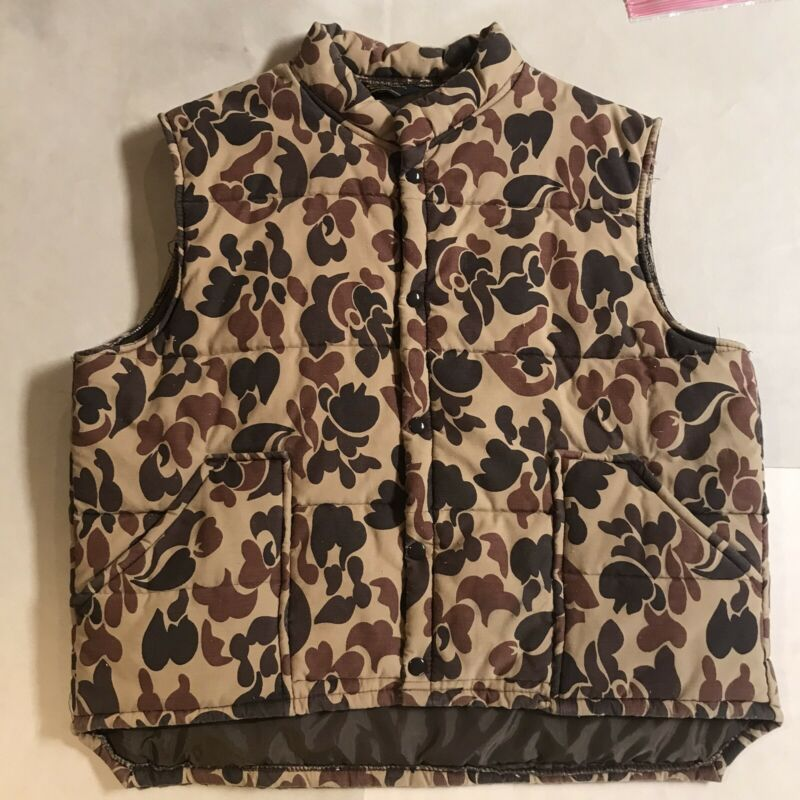 Vintage Duck Hunting Camo Puffy Vest Cotton Fill 80's 70's Swingster USA Made