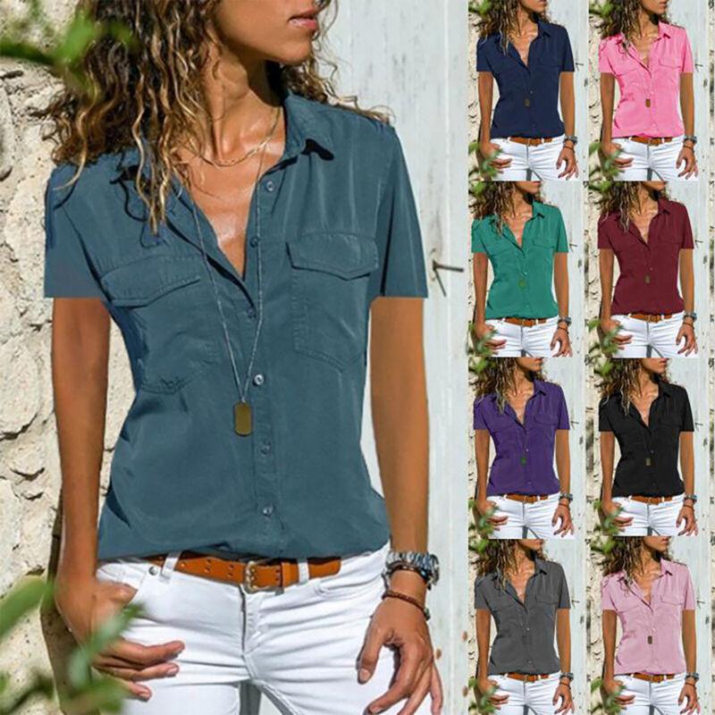 Damen Übergröße V-Ausschnitt Hemdbluse Sommer Freizeit Kurzarm Hemd Blusen Tops