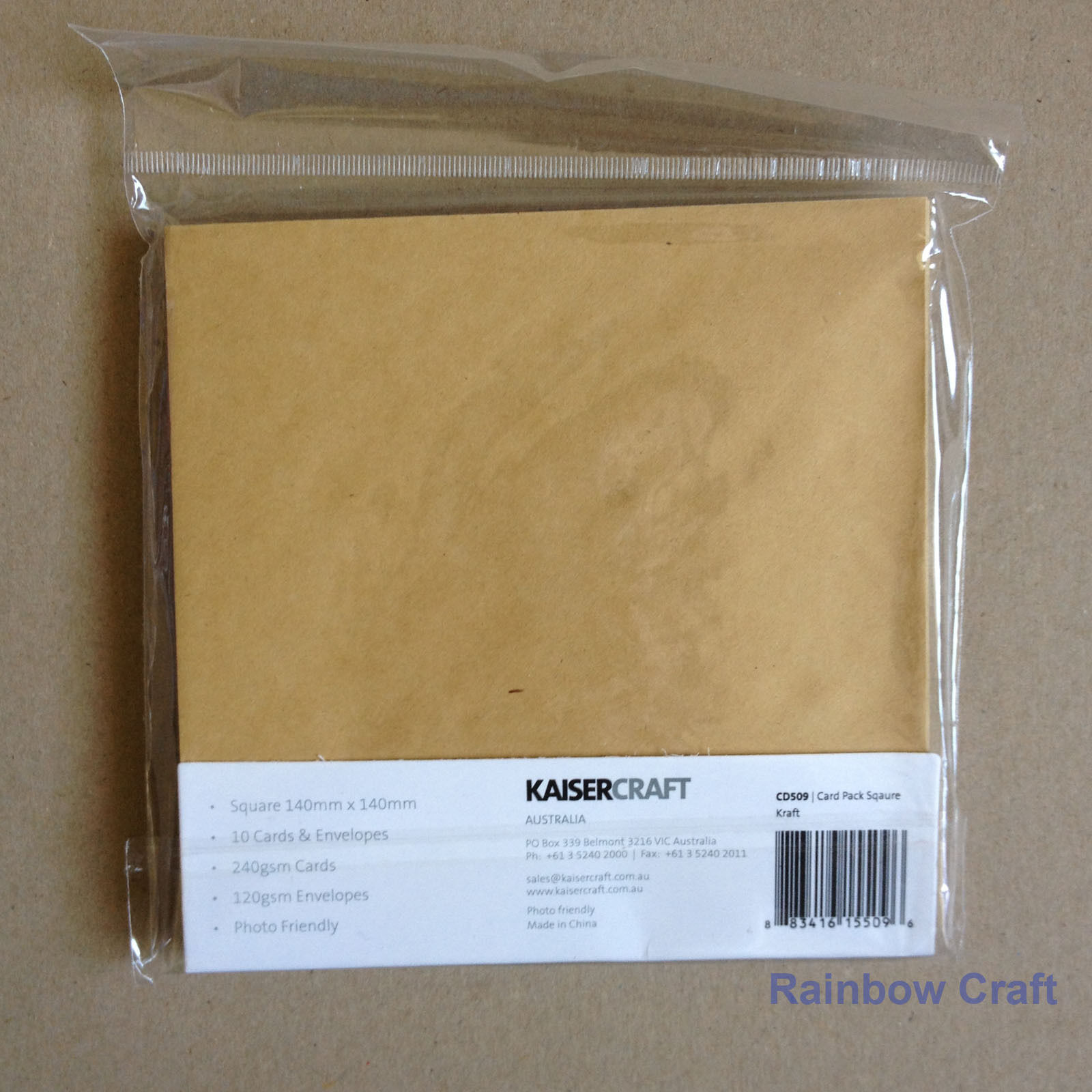 Kaisercraft 10 blank Cards & Envelopes Square / C6 size (12 selections) - Kraft
