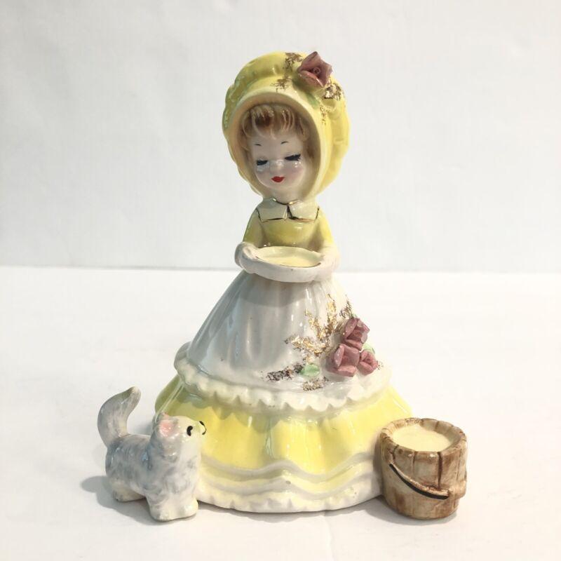 Josef Originals Girl in Yellow Dress Apron with Kitten