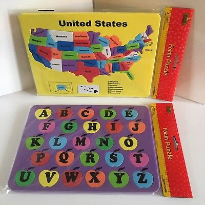 Home School USA Map Puzzle Foam New ABCs Learning States Pre School