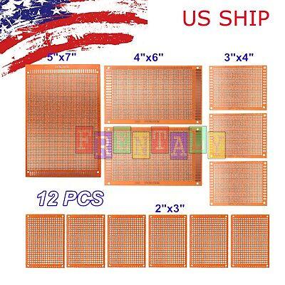 12pc DIY Prototyping Board PCB Printed Circuit Prototype Breadboard Stripboard