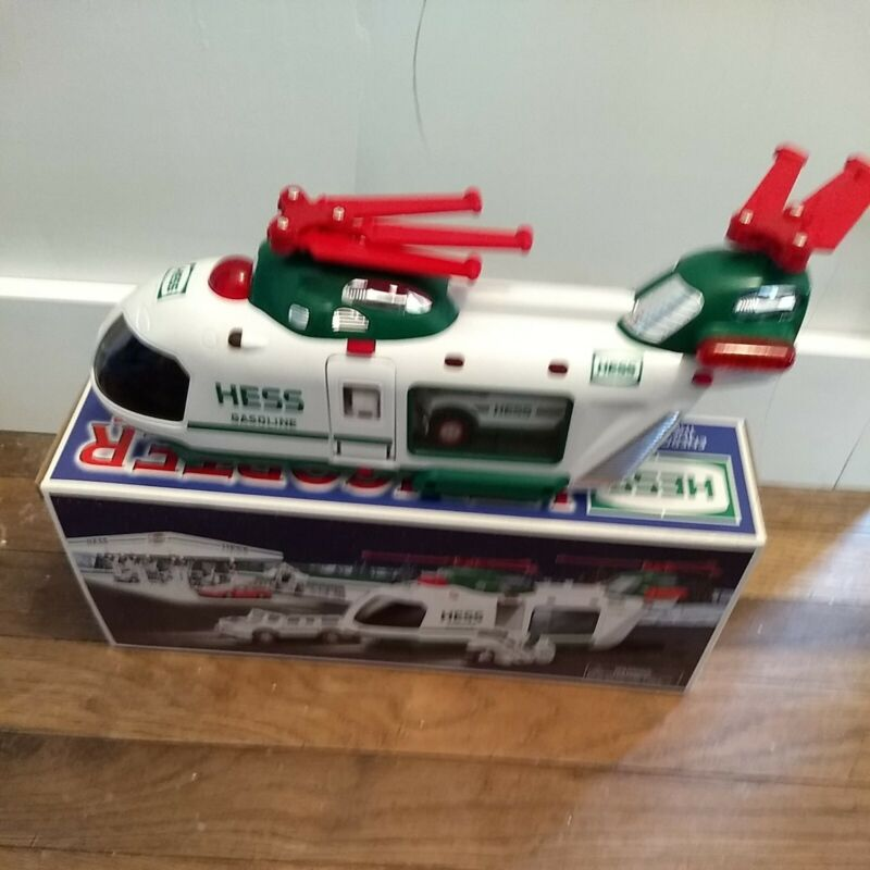 2001 Hess Helicopter With Motorcycle And Cruiser Includes Original Box