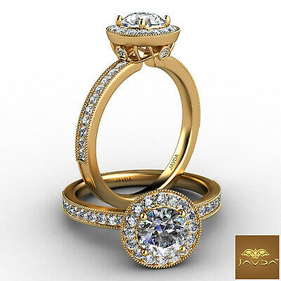 Bezel Set Halo Round Cut Diamond Engagement Pave Milgrain Ring GIA G SI1 1.21 Ct